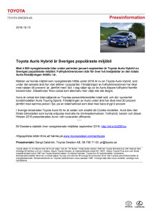 Toyota Auris Hybrid är Sveriges populäraste miljöbil