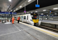 The train standing at London Bridge is the first Thameslink test train