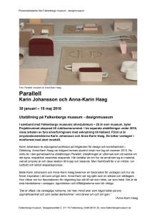 Pressmeddelande Parallell, Falkenbergs museum