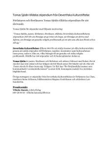 Pressmeddelande: Tomas Sjödin tilldelas stipendium från Deverthska Kulturstiftelse