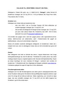 Kallelse till årsstämma i Dialect AB (publ) 2015