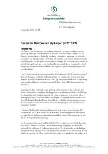 Remissvar över Rektorn och styrkedjan U 2015:22