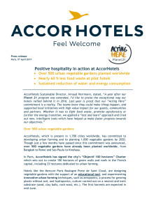 Planet 21 – Positive hospitality in action at AccorHotels