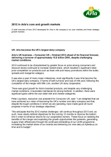 Arla Annual Results 2012 - Core and Growth Markets