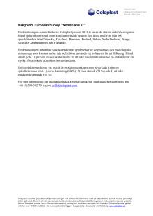 "FAKTABLAD: European Survey ""Women and IC"" av Coloplast"