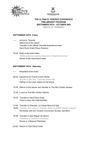 PRELIMINARY PROGRAM THE ULTIMATE TENERIFE EXPERIENCE