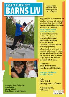 Våga ta plats i ditt barns liv - föreläsning i Örebro för föräldrar, lärare, förskollärare och socialtjänst