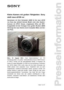 """Pressemitteilung """"Kleine Kamera mit großen Fähigkeiten: Sony stellt neue α5100 vor"""""""