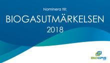 Dags att nominera till Biogasutmärkelsen 2018!