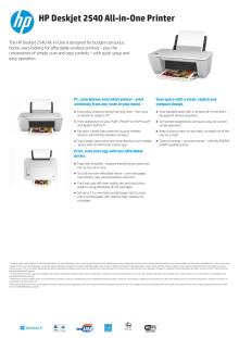 HP Deskjet 2540 All-in-One Printer DataSheet