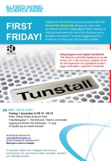 First Friday 1 december, med Per Gennel från Tunstall AB