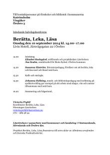 Berätta, Leka, Läsa Örebro 10/9 2014