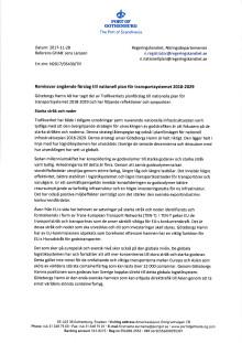 Remissvar angående förslag till nationell plan för transportsystemet 2018-2029
