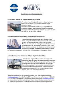 Karpaz Gate Marina - Bewertungen unserer Liegeplatznutzer