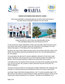 Karpaz Gate Marina Wins Industry Award