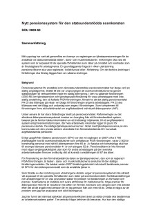 Sammanfattning pensionsutredningen (SOU 2009:50)