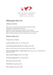 Bibliography Shaun Tan