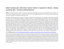 Global Cardiovascular Information Systems Market is Expected to Witness a Steady Growth by 2021