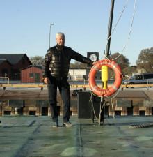 Gotlandsbåtens avkörningspråm på plats.