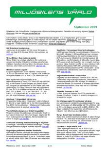 Gröna Bilisters nyhetsbrev för september 2009