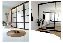 Skydedøre med sort ramme som en trendy indretningsdetalje.