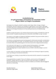 Avsiktsförklaring om gott grannskap, partnerskap och samarbete mellan Region Skåne och Region Hovedstaden
