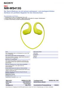 Datenblatt NW-WS413G von Sony_Gelb
