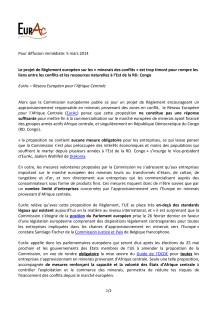 Pressmeddelande från EURAC, Europeiska nätverket för Centralafrika
