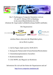 5. Fachkongress Composite Simulation (5.FCS) am 24./25. Februar 2016 in Hamburg