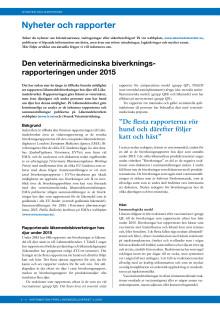 Veterinärmedicinsk biverkningsrapportering 2015