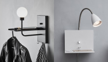 Snygga vägglampor med smart förvaring och USB-uttag