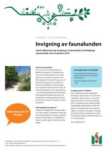 Inbjudan till invigning av faunalunden i Käglinge 24 oktober