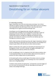 Regiondirektörens förslag till plan för omställning för en hållbar ekonomi