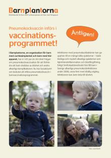Pneumokockvaccin införs i vaccinationsprogrammet, informationsblad