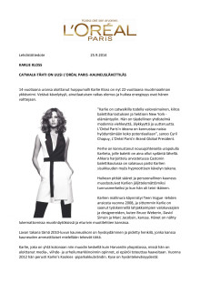 Karlie Kloss, uusi L'Oréal Paris -kauneuslähettiläs