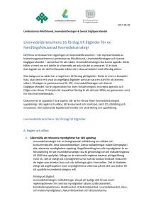 Branschens förslag till åtgärder för en handlingsfokuserad livsmedelsstrategi