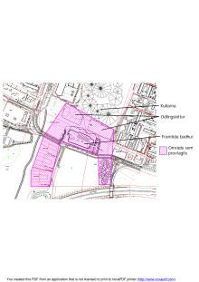 Karta över markprover för badhus, bostäder och odlingslotter i Kroksbäck.