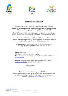 Pressinbjudan - individuella intervjuer med Jenny Rissveds inför OS