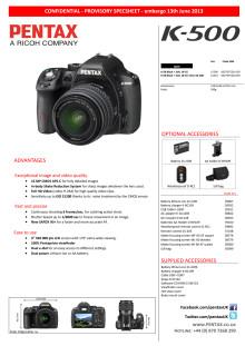 Pentax K-500 datablad