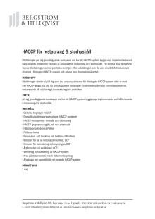 HACCP för restaurang och storhushåll
