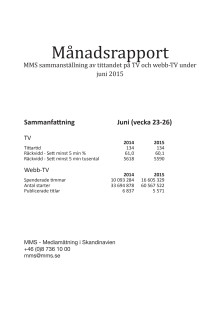MMS Månadsrapport juni  2015