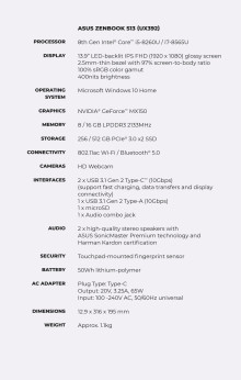 Zenbook S13 Specsheet