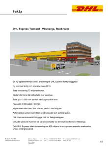 Första spadtaget för DHL:s nya terminal i Västberga - faktablad