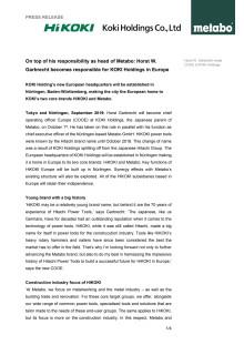 Pressmeddelande - Horst Garbrecht (COOE) för KOKI Holdings