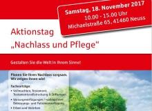 """Aktionstag """"Nachlass und Pflege bei der Sparkasse Neuss: Gestalten Sie die Welt in Ihrem Sinne!"""