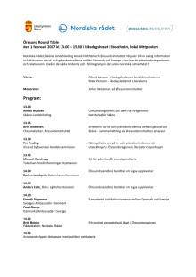 Program för Öresund Round Table i Stockholm 1 februari