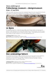 Pressmeddelande från Falkenbergs museum - designmuseum, Vårens utställningar 2016