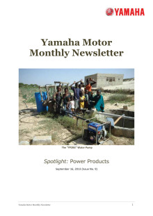 Yamaha Motor Monthly Newsletter No.9(Sep.2013) Power Products