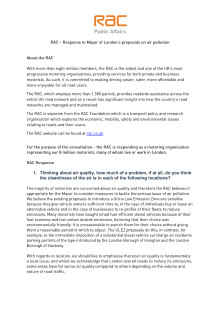 RAC response to the Mayor of London's proposals to improve air quality