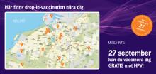 Inbjudan till HPV-vaccination 27 sep. Till kvinnor födda 87-92 i Malmö.